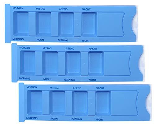 Medikamentendispenser Medi-Inn Tablettenbox Pillenbox Tages - Dispenser mit 4 Fächer(blau Standard,3 Stück)