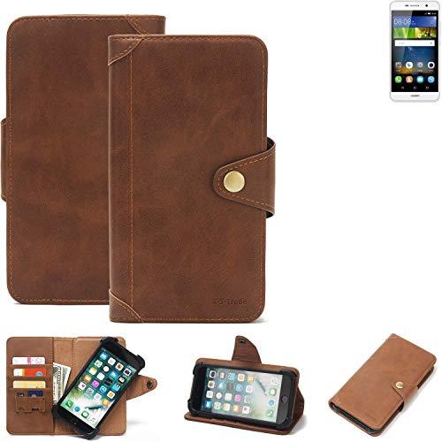 K-S-Trade® Handy Hülle Für Huawei Y6Pro LTE Schutzhülle Walletcase Bookstyle Tasche Handyhülle Schutz Case Handytasche Wallet Flipcase Cover PU Braun (1x)