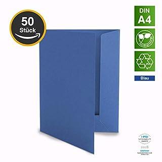 50 Hochwertige Präsentationsmappen - DIN-A4 BLAU Stabiler durchgefärbter 320g/m² Karton - eigene Herstellung in Deutschland (Dokumentenmappen Angebotsmappen Pappmappen Arbeitsmappen Pappe)