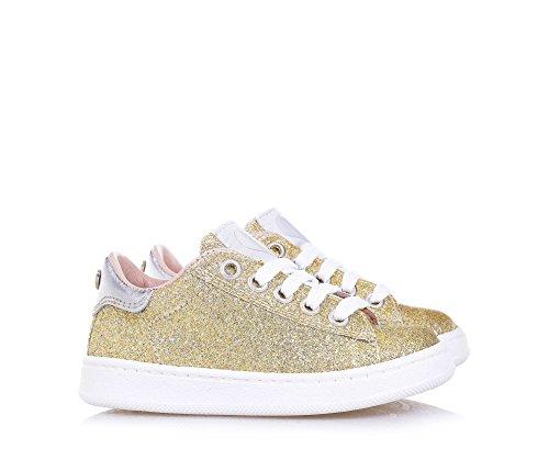 TWIN-SET – Goldener Schuh mit Schnürsenkeln aus Glitzern und Leder, phantasievoll und modisch, seitlich ein Reißverschluss, Mädchen - 3
