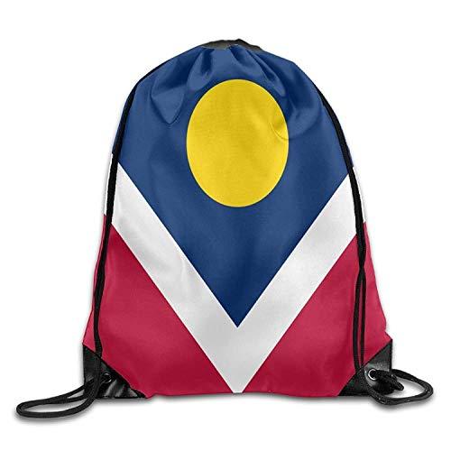 Einst Flag of Denver Personalized Turnbeutel Drawstring Bags Gym Sack Rucksack Sporttasche für Frauen Männer Student