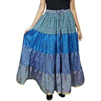 Mogul Interior Womens Maxi Skirt Bohemian Tiered Blue Sari Belly Dance Gypsy Skirts OneSize