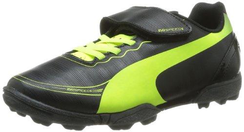 Puma Evospeed 5 Tt Jr Velc, Chaussures de football garçon Noir (Black, Fluo Yellow)