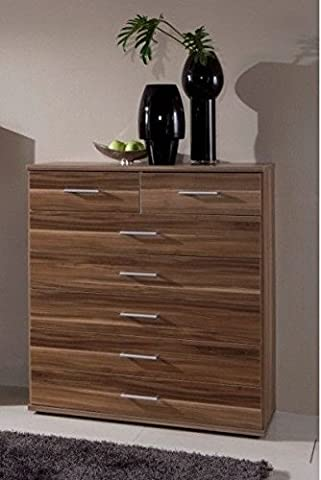 Germanica™ MUNICH Matching Chest Of Drawers In a Choice of 3 Colours and 3 Sizes (Walnut 7 Drawer Chest) END OF LINE STOCK DISCOUNT