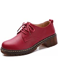 Moonwalker Zapatos con Cordones de Cuero Mujer Oxford con Tacon 3.5 cm