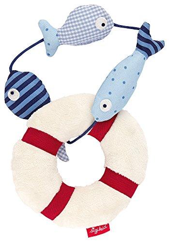 sigikid, Mädchen und Jungen, Greifling und Rassel Fische, Toy Ahoi, Weiß/Blau, 40984