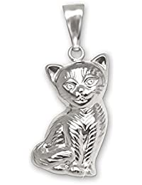 CLEVER SCHMUCK Clever joyas plateado colgante gato 15mm sentado ambos lados plastische Forma con gestrichelt de piel y brillante plata de ley 925