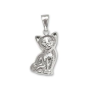 CLEVER SCHMUCK Silberner Damen Anhänger Katze 15 mm sitzend beidseitig plastische Form mit Fell gestrichelt und glänzend Sterling Silber 925 in Geschenkfaltbox