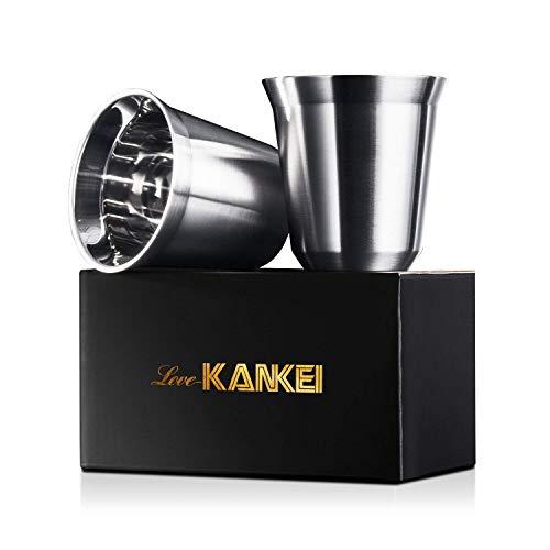 Love-KANKEI Tasse à Café En 304 Acier Inoxydable de Haute Qualité Double Paroi Lot de 2 Noir