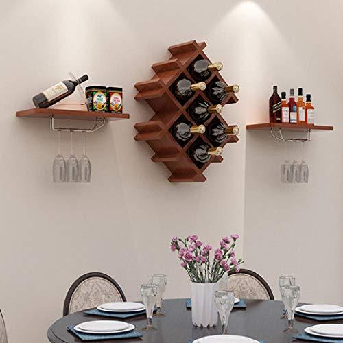 Casier à vin suspendu/casier à vin en bois/minimaliste moderne cave à vin restaurant/mur de la salle de séjour porte-partition décoratif, brun 114 * 51cm