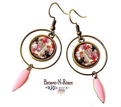 Boucles d'oreilles fleurs roses rétro créoles