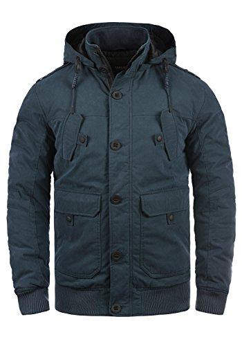 SOLID Davio Herren Winterjacke Mantel mit Stehkragen und Kapuze aus hochwertiger Baumwollmischung, Größe:XXL, Farbe:Insignia Blue (1991) (Abnehmbare Kapuze)