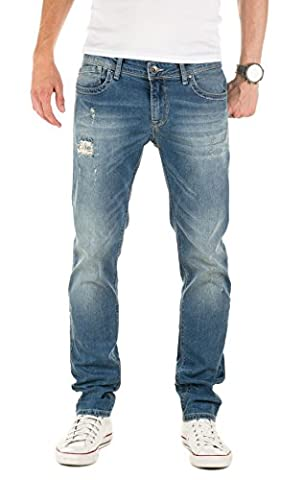 WOTEGA Homme Jeans Pete destroyed slim, Bleu (Tradewinds 154307), W32/L32