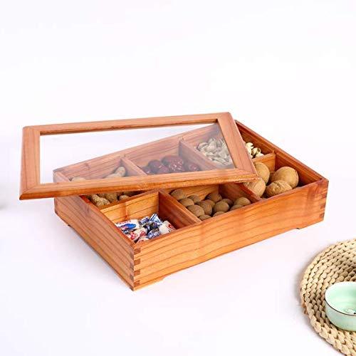 ZZSIccc Europäische Trockenfrüchte Platte Fach mit Deckel Dörrobst-Box Wohnzimmer Obstschale Multi-Funktions-Snack Süßigkeiten Tablett Massivholz Nuss-Box, D
