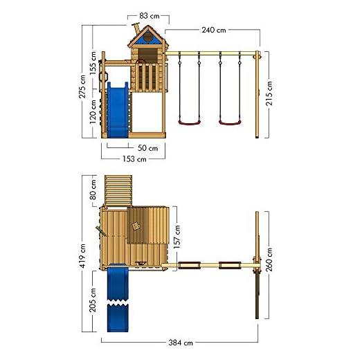 WICKEY Spielturm Smart Lodge Kletterturm Baumhaus Garten mit Spielhaus, Doppelschaukel, großem Sandkasten, Kletterwand, blaue Rutsche