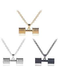 Mingjun - Juego de 3 piezas de collar con mancuernas para deportes y fitness, collar