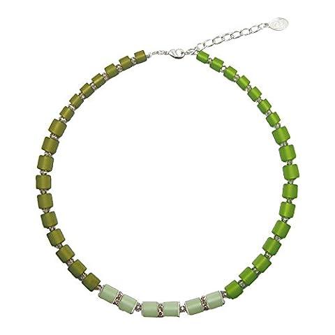 Halskette mit echten Polariswürfel ca. 45 cm + 4.5 cm PWS0846 mit Swarovski Elements grün
