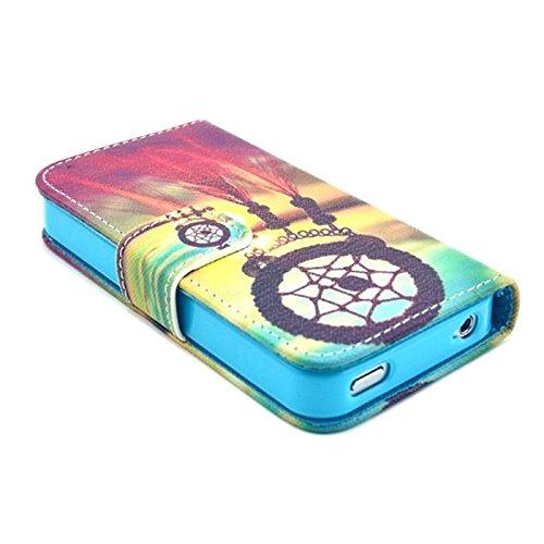 TPJOER Custodia Protettiva PU Pelle Stand Flip Case Cover per Apple iPhone 4 4S 4G (TIT F131) TIT F131