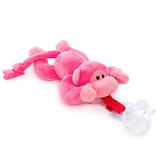 BabyHuggle Pinkes Affen-Schmusetier Schnuller | Softes Kuscheltier an abnehmbarem Baby Silikon-Sauger mit Clip-Band & Quietsche-Ton. Beißring-Halterung. Sicher & beruhigend Geschenk-Idee Geburt (Mit Baby-schnuller Plüschtier)