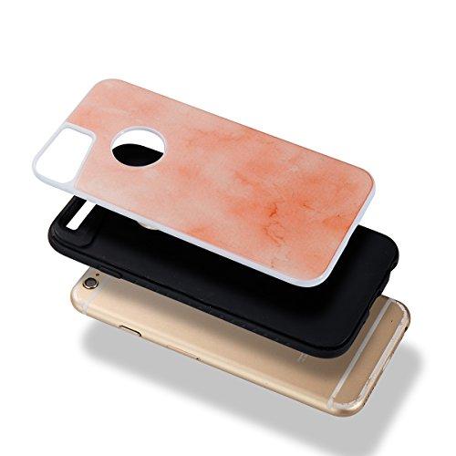 iPhone 6 Plus Coque Coquille Silicone en Tpu Housse Etui iPhone 6S Plus Black Noir Romantique Élégant Beau Pierre Motif [Tpu+Pc]Ultra Mince Thin Transparent Flexible Doux Caoutchouc Couverture Etui de Orange