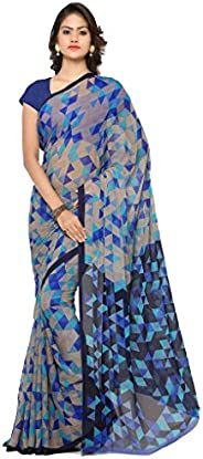 Vaamsi Women's Georgette Printed Saree (RC3230_Blue_One S