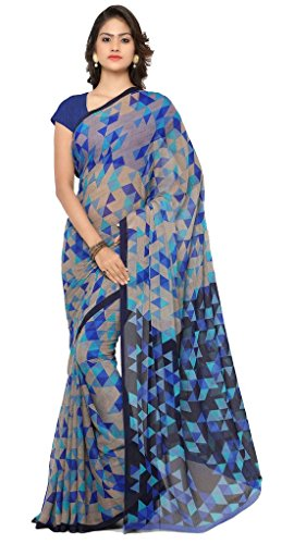 Vaamsi Chiffon Saree with Blouse Piece (RC3230_Blue_One Size)