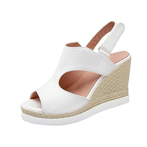 Mee Shoes Damen modern bequem populär Peep toe Keilabsatz Slingback Klettband amtungsaktiv Blockabsatz Sandalen Weiß