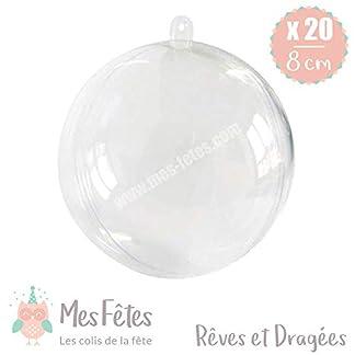 mes fetes – Bolas de Navidad Transparentes de plástico, para Rellenar, para Bodas, bautizos, diámetro 8 cm