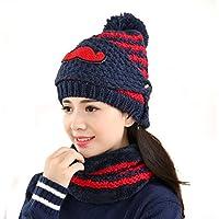 China Show Mujeres Schöne Bigote Invierno Gorro Polar Forrado Ciclo de Gorro Sombrero con máscara Cian