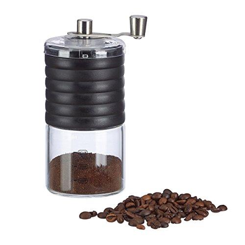 Relaxdays Manuelle Kaffeemühle, verstellbares Keramikmahlwerk, bis zu 3 Tassen, Handkurbel,...