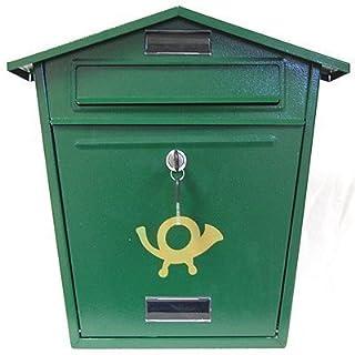 Green Steel Post Box - Traditional