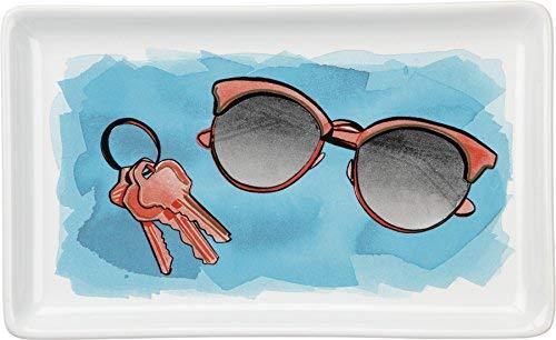 Primitives by Kathy Tränke tray - bunte Aquarell Grafik: Clubmaster-Sonnenbrille und Schlüsselring - 6.75