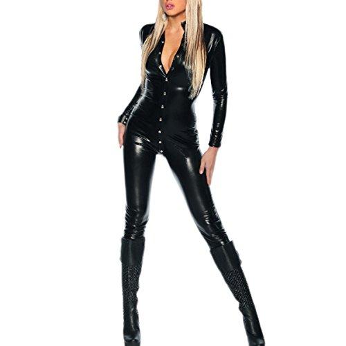 SSScok Leder Sexy Dessous Clubwear Kostüm Frauen Jumpsuit Body Babydoll Nachthemd mit offenem - Schwarze Haut Anzug Kostüm