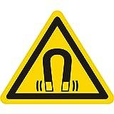 Warnzeichen W006 - Warnung magnetisches Feld - Seitenlänge 12,5 mm - 200 Warnschilder aus Vinyl Folie, gelb, permanent haftend
