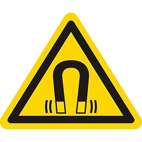 Labelident Warnaufkleber W006 - Warnung magnetisches Feld - Seitenlänge: 25 mm - 15 selbstklebende Warnzeichen aus Vinyl Folie, permanent haftend