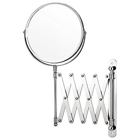 Top Home Solutions Make-up-Spiegel, Vergrößerung, Wandmontage, ausziehbar, für Rasieren, Kosmetik etc., doppelseitig, Badezimmer, schwenkbar
