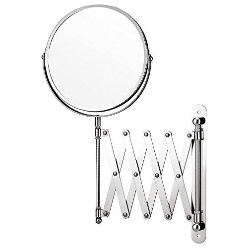 Top Home Solutions Lupa montado en la pared Maquillaje Espejo Extensible afeitar Espejo de maquillaje doble cara espejo de tocador cuarto de baño giratorio