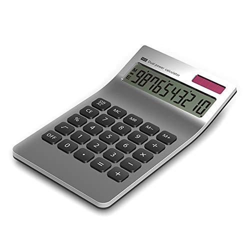 Tischrechner, Tragbarer Schlanker 10 Stelliger Dual Power Rechner Gekippte LCD Anzeige für das Büro Im Büro - Silber