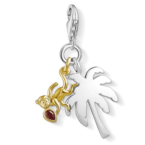 Uhr Palme (Thomas Sabo Damen-Charm-Anhänger Affe Palme Charm Club 925 Sterling Silber 750 gelbgold 1348-414-10)