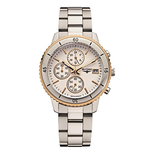 ELYSEE Women's Sina 40mm Steel Bracelet & Case Sapphire Crystal Quartz Silver-Tone Dial Watch 83800S
