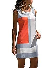 bae2d527a9 Minetom Mujer Casual Sin Mangas Camiseta Tank Vestido Corto con Bolsillo  Verano Patrón Geométrico Playa Mini