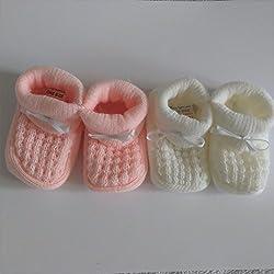 2pares de zapatillas/patucos para bebe recién nacido, color rosa y blanco/crema