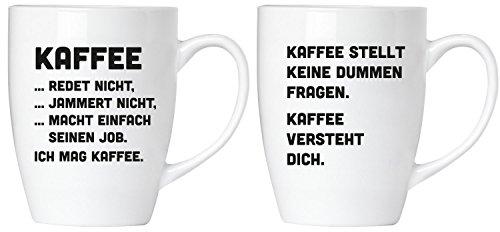 """BRUBAKER """"Kaffee jammert nicht!"""" Tassen Set aus Keramik – Grußkarte und Geschenkpackung"""