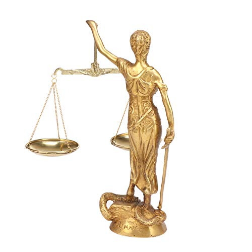 Kartique Blind Folded Justice Sculptures | Lady Justice Statues | Themis Sculptures | Andha Kanoon | Size 9 Inches