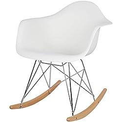 eSituro 1X Fauteuil à Bascule,Chaise à Bascule,Fauteuil Relaxant en Plastique de Haute qualité, Structure en métal et Pieds en Bois, Blanc SRC0003
