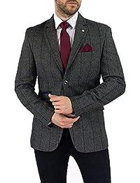 GIACCA INVERNALE DA Uomo Tweed Retro Nocciola a Scacchi e Finitura Scamosciata