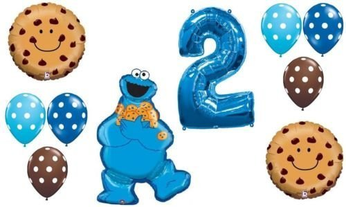 LoonBalloon COOKIE MONSTER Polka Dots #2 2nd 11 Pce Birthday PARTY Mylar Latex BALLOON Set B by LoonBalloon
