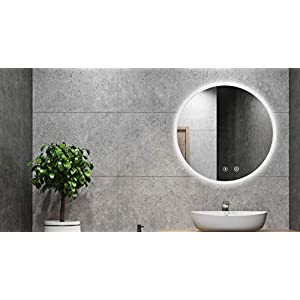 ALLDREI AD-019A Antibeschlag Badspiegel mit Beleuchtung Badezimmerspiegel mit LED Licht, Touch Schalter - 60 cm Rund, IP44, Weiß Lichtfarbe, Farbtemperatur 6500K, Lumen 1584, Energieklasse A+