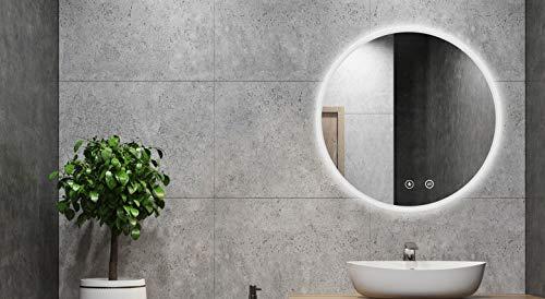alldrei ad-019a specchio antiappannamento per il bagno con illuminazione, interruttore tattile - rotondo da 60 cm, ip44, colore bianco chiaro, 6500k, classe energetica a ++