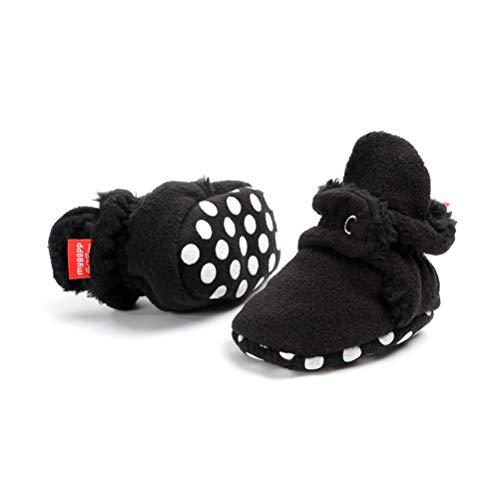 Botas de Niño Calcetín Invierno Soft Sole Crib Raya de Caliente Boots de Algodón para Bebés (0-6 Meses, Negro)